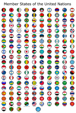 adjusted: List of countries in the United Nations, national flags set on a clock face with time zone set (Adjusted with Daylight Saving Time on corresponding countries)