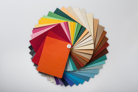 color swatch: Still life image of a color swatch book shot in the studio on a white background Stock Photo