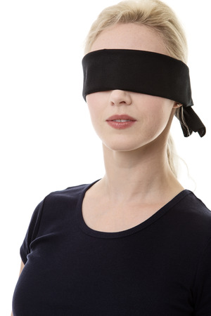blindness: woman wearing a blindfold not sure what to do
