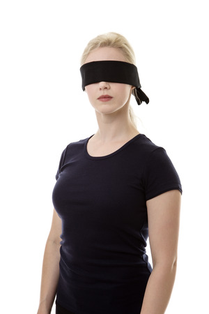 woman wearing a blindfold not sure what to do