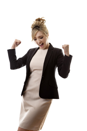 win: business woman happy with her success Stock Photo