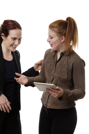 working woman: two business woman working together Stock Photo