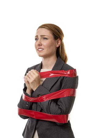 gefesselt: Business-Frau gefangen in Bürokratie Lizenzfreie Bilder