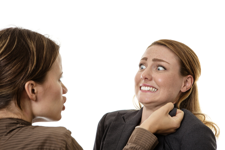 brawl: two business woman mad and fighting each other