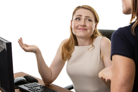 working together: two business woman working together Stock Photo