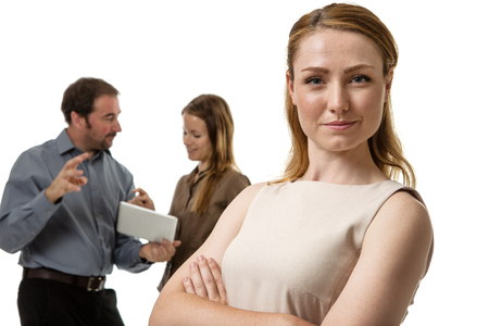 team leader: group of business people with the female standing in front