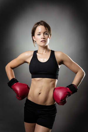 keeping fit: woman keeping fit through boxing Stock Photo