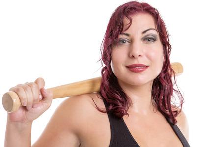 baseball bat: close up image of a fitness woman with a baseball bat