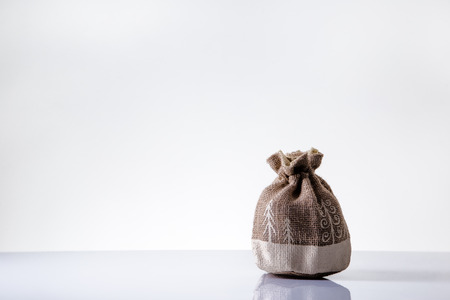 hessian: small hessian christmas bag