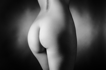 close up black and white image of womans bum