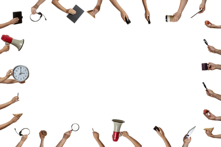 many hands: background of many hands holding objects Stock Photo