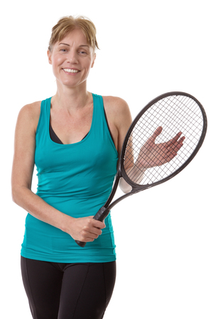 racquet: fitness model holding a tennis racquet in her hands isolated on white Stock Photo