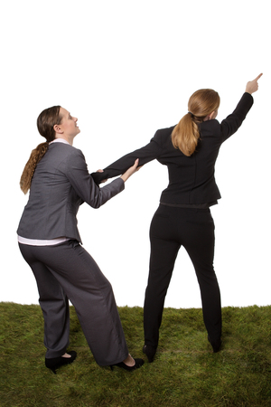 wanting: Studio shot of two business women standing on grass, having a disagreement. wanting to take a different path Stock Photo