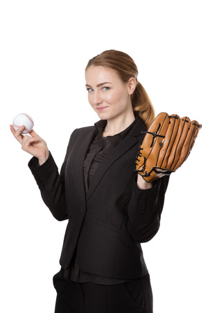 homerun: Upper body studio shot of a happy, pretty business model holding a baseball and a catchers glove.  Isolated on white Stock Photo