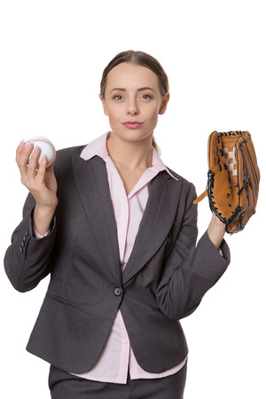 catcher's mitt: Upper body studio shot of a happy, pretty business model holding a baseball and a catchers glove.  Isolated on white Stock Photo