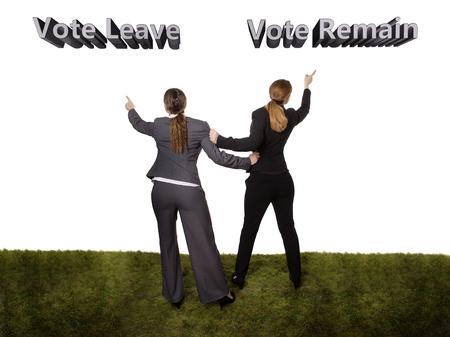 wanting: Full length studio shot of two business women, taken from behind, standing on grass. wanting to go in different directions