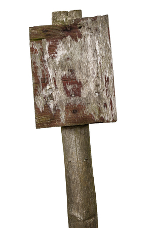 sign post: Old wooden sign post cut out on white Stock Photo