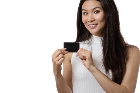 businesscard: business woman showing you a blank black businesscard Stock Photo