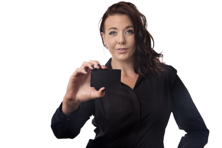 businesscard: business woman presenting you her businesscard Stock Photo