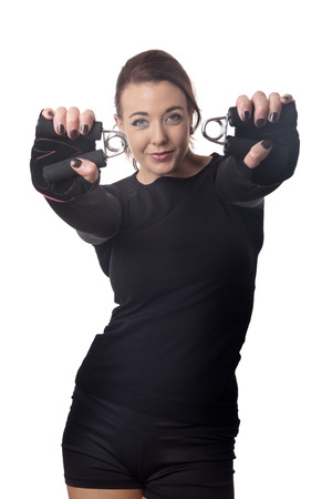 fitness woman doing a hand grip exercise routine