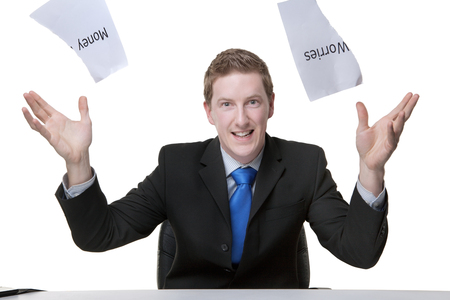 business man getting out of debt photo