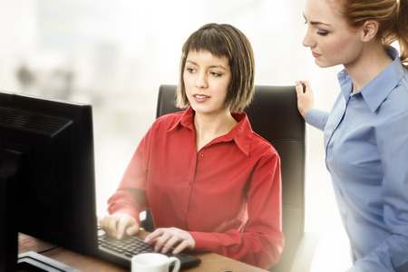 two work colleagues working together in the office photo
