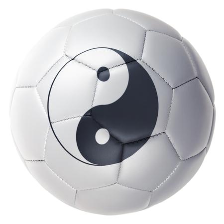 伝統的なサッカーを重ね合わせて調和陰陽。 写真素材