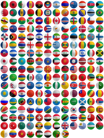 flags of countries superimpose onto a golf ball