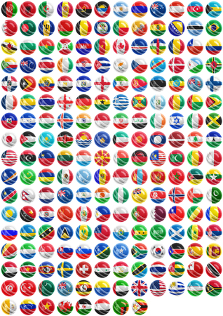 flags of countries superimpose onto a cricket ball