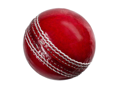 red cricket ball isolated on white Imagens