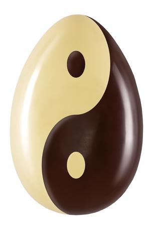 yin y yan: single Yin and Yang chocolate easter egg on white background