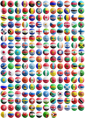 flags of countries superimpose onto a tennis ball