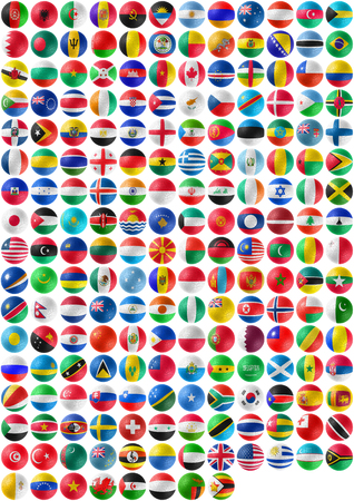 flags of countries superimpose onto a jigsaw ball