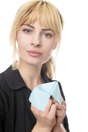 business woman using a origami fortune teller to make choices  Stock Photo