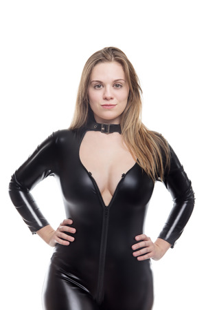 sexy young woman wear a cat suit