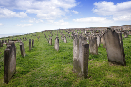 England, North Yorkshire, Tombstones churchyard at St Mary Whitby