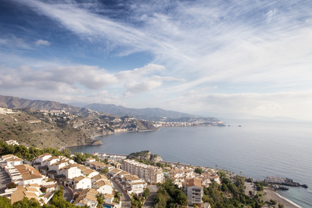 sea view in almunecar spain, a tourist town in a province of Granada in the Costa Tropical Stok Fotoğraf
