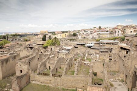 Herculaneum was an ancient Roman town destroyed by Mount Vesuvius. but one of the few ancient cities to be preserved for having been buried in ash. Stok Fotoğraf - 133213136