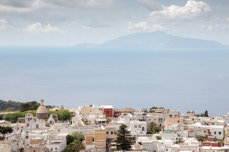 view of mount vesuvius across the sea from the island of capri