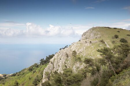 high above sea level looking out from the island of capri of the landscape below Stock Photo