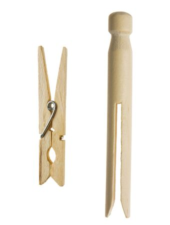 cut out of two wooden cloth pegs