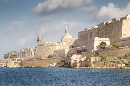 capital city of malta showing the great wall that surround the town 写真素材