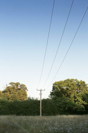 electric power lines going through a field in essex england Banque d'images
