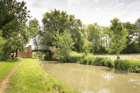 bridge over a waterway in the landscape from the town of banbury in oxfordshire england