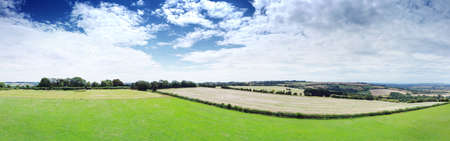 panoramic aerial view of the King Stone landmark in the Oxfordshire Warwickshire border in England Stock Photo