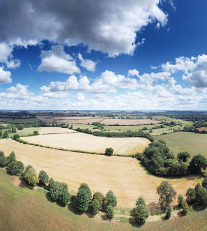 Panoramic aerial view of farmland in the oxfordshire countryside in england