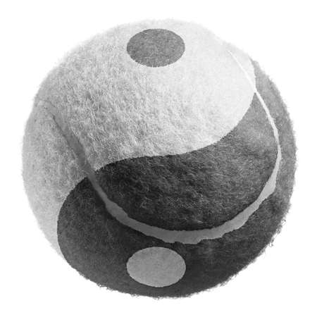 single yin and yang Tennis ball isolated on white Stockfoto