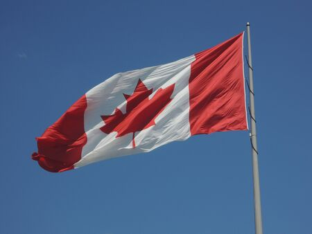 Canadian flag waving in the wind, with a dark blue sky in the background Banque d'images