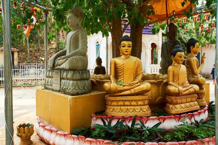 The disciples of Buddha. Back view. Sambok Pagoda, Kratie Cambodia