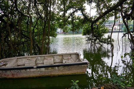 Hanoi, Vietnam - April 30, 2019: Temple of the Jade Mountain on Hoan Kiem Lake in central Hanoi.. Stock Photo - 123536190